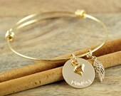Gold Personalized Bangle Bracelet, Hand Stamped Bracelet, Personalized Bangle Bracelet, Wing Charm Bracelet, Alex and Ani Inspired