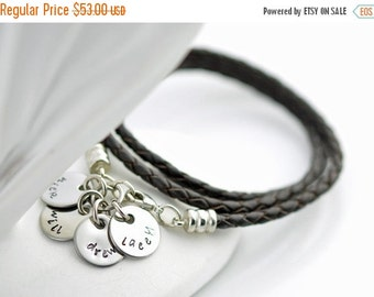 Valentines Day Gift Personalized hand stamped,womens jewelry, brown leather cord wrap bracelet with stainless steel initial discs