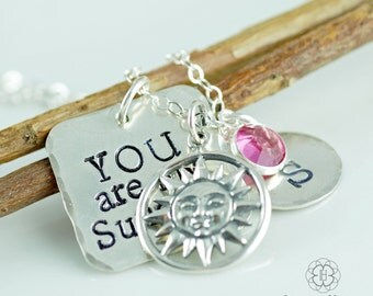 Personalized You Are My Sunshine Necklace - Hand Stamped Jewelry - Mom Necklace - Mommy Jewelry - My Only Sunshine - Sunshine Name Necklace