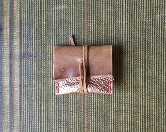2x2 Business Card Case in Copper and Tan Leather