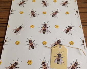Honey bee, bee, wrapping paper, gift wrap, for bee lovers, bee keepers, honeycomb