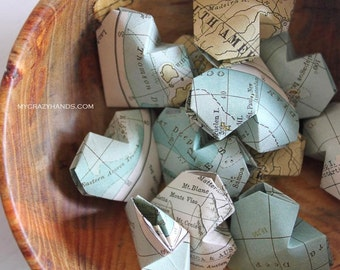 12 texture map balloon hearts || origami heart favors || map theme wedding || gifts for map lovers -nautical