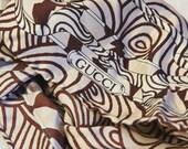 Vintage designer Gucci hand rolled silk scarf Brown Coffee Cream