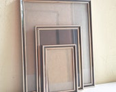 Set of 3 Vintage Picture Frames 8x10 5x7 and 3.5x5 Gold Metal with Dark Brown Inlay
