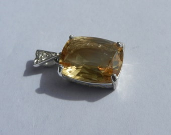 Natural 6.50 Carat Citrine & White Sapphire Pendant set in Solid 925 Sterling Silver