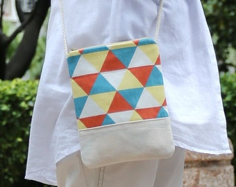 Cell phone bag / Smart phone bag / Shoulder purse / Crossbody bag ~ Triangular pattern (D-08)