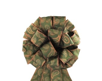 Christmas Tree Topper Bow / Tree Topper Bow / Wreath Bow /  Olive Green Bow
