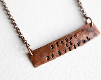 Strong is Beautiful, Stamped Necklace, Personalized, Bar Necklace, Stamped Metal, Beaded Jewelry, Inspirational, Feminist Jewelry