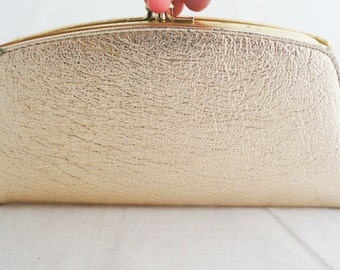 Wallet Clutch-  Metallic Gold Foil Snap Clutch or Wallet with kiss clasp closure