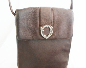 Purse- Brown leather rectangular crossbody with silver filigree hardware
