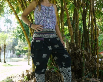 Thai Tribe Pants, Cotton, Elephant print in Black and White Design w Hmong Hill Tribe Details