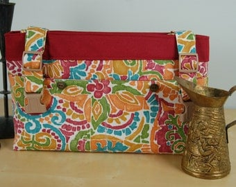 Powerchair-Walker Bag:  New Festive print fabric with a Spanish flair and a water repellent maroon lining.