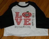 Monogrammed LOVE Raglan or T-Shirt - Great for Teachers, Assistants, Any School Employee