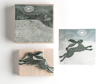 Snow Hare  and Landscape  Rubber Stamp