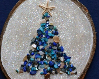 Christmas ornament, wood slice ornament, large birch slice, wall art, beachy, bathroom art, star fish, sea glass, glitter, blue and white