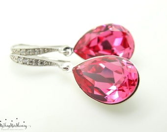 Swarovski Crystal Pink Earrings Bridal Teardrop Earrings Hot Pink Bride Earrings Bridesmaid Gift Bridal Earrings Wedding Jewelry