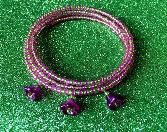 Bracelet Lime Green and Mauve Purple Flower Memory Wire Expandable Coil Cuff by JulieDeeleyJewellery, Ladies Jewelry, Memory Wire Bracelet