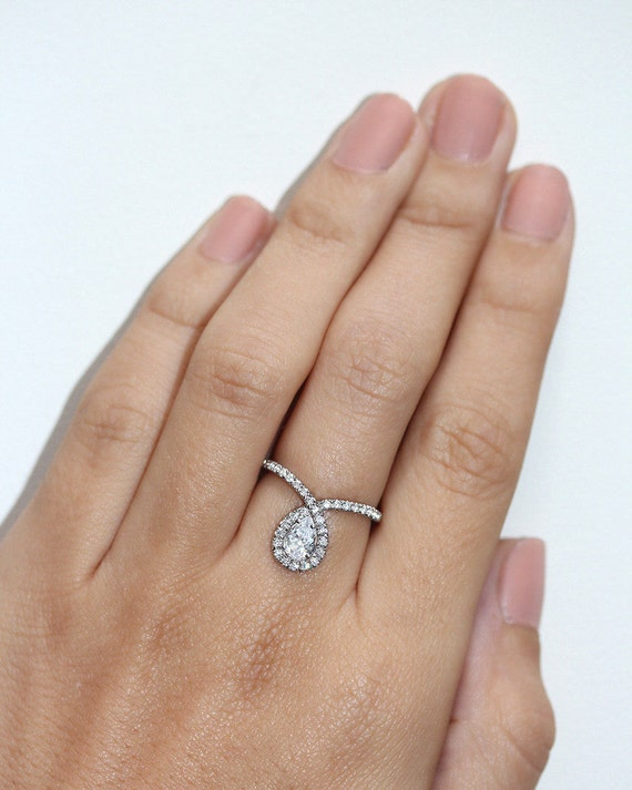 pear engagement ring halo ring 14k white by sillyshinydiamonds