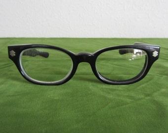 Black Eyeglass Frames Plastic Eyeglasses Vintage 1980s Eyewear