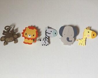 Jungle Animal Clips, Baby Shower Chalk Board Clips, jungle Animals