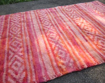 Hand Knitted Wool Area Rug in Orange Red Light Salmon / Felted and with Cotton Backing