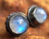 Rainbow Monnstone sterling silver stud Earrings