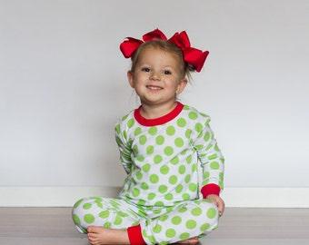 Christmas Pajamas Lime Green Red Baby Children Toddlers Kids Christmas Pajamas Boys & Girls Stripe Christmas Pajamas Monogrammed Striped PJs