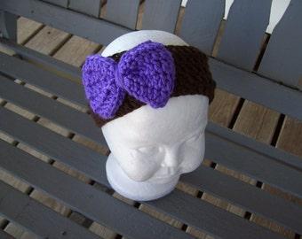 Headband,Crocheted,Girl,Girls,Infants,Infant,Photo Prop,Gift,Shower,Purple,Chocolat Brown,Newborn-6Months,Bow