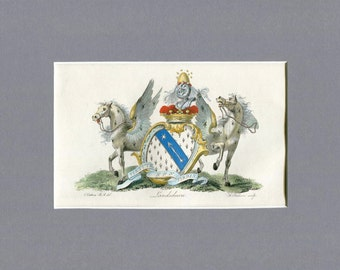 Original 1790 Heraldry showing two Winged White Horses from the Landsdown coat of Arms - Beehives - Bees -  British Aristocracy