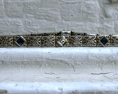 RESERVED - Beautiful Vintage Filigree 14K White Gold Sapphire and Diamond Bracelet.