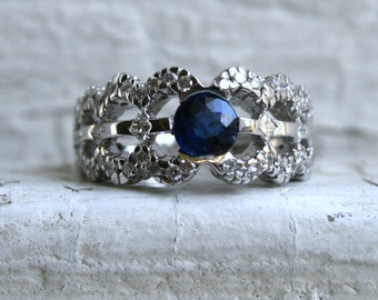 Unique Scalloped Vintage 18K White Gold Diamond and Natural Sapphire Engagement Ring - 1.96ct.