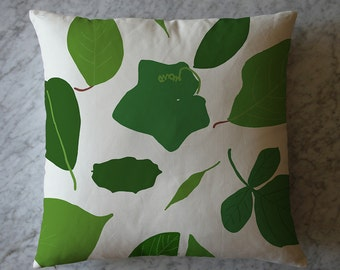 Pillow with Green Leaves. June 2, 2013