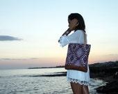 OOAK tribal design tote bag, turkish kilim chenille fabric, medium size shopper, istanbul geometric textile, aztec, navajo.  Ready to ship