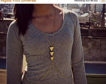 FALL SALE geometric body chain, chevron necklace, triangle necklace, unique necklace, statement necklace
