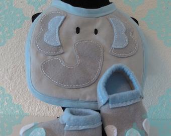 Blue Felt Elephant Bib and Shoe Set- Elephant Baby Bib & Shoes Set