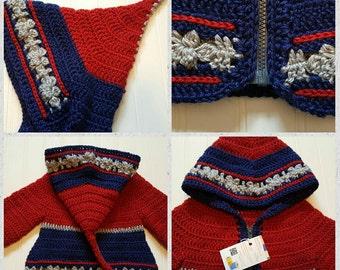 Sale-Crochet Elven pixi fairy hooded toddler jacket- Crochet knitted sweater jacket, elf hood, READY TO SHIP pixi hooded jacket