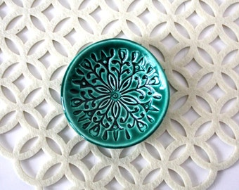 Trinket Dish - Emerald Ring Holder - Handmade Jewelry Bowl - Scandi Decor - Scandinavian Folk Pattern - Jewelry Storage - Folk Art Dish