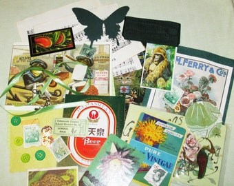 Green Mixed Media Altered Art Inspiration Kit - 35 pcs - Found Objects - Vintage & Vintage Inspired