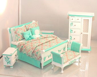 AQUA & GREY Art Deco Hollywood Regency 5pc Handpainted Dollhouse Miniature Bedroom Bed Set 1:12