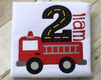 Firetruck birthday shirt, firetruck with number and name,  firefighter shirt, embroidered birthday shirt with name for boys