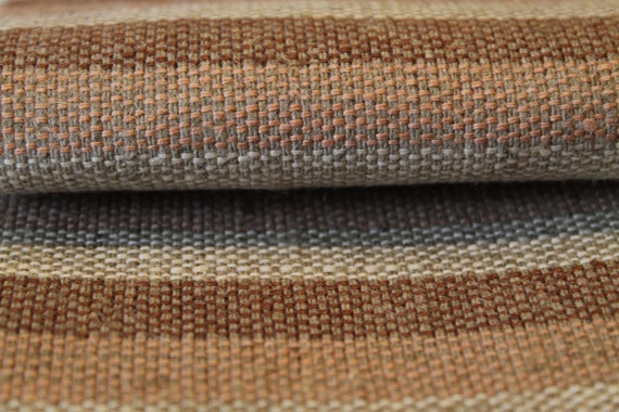 Linen Fabric 100 Upholstery Textile Natural Fiber Organic Neutral Gray Stripes Very Heavy Weight Furniture Canvas ECO Friendly 1 Yard From