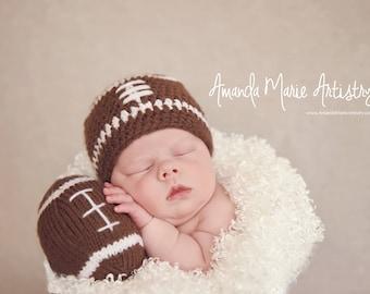 Baby  Football hat---Football Team ,Crochet Hat- Baby Football outfit- crochet baby shower gift - newborn photography prop--baby boy Hat