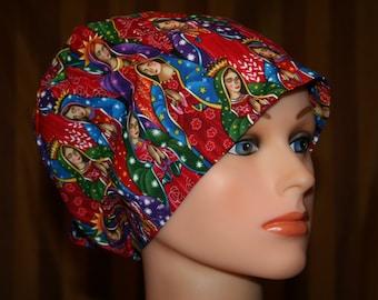 Scrub Hat, Tie Back Scrub Hat/Chemo Hat/Womens scrub hat/Surgical Scrub Hat, Scrub cap--Mother Mary