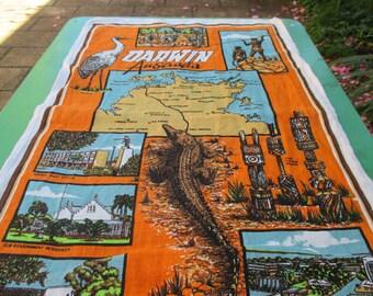 Tea Towel Vintage of Darwin Northern Territory, Australia -  Australian Tea Towel.