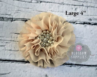 "BEIGE - LARGE 4"" Rebecca Collection - Ruffled Pearl Rhinestone Chiffon Flowers - DIY Flower Headband & Clip - Wedding Supplies Tan Brown"