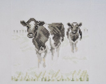 Finished / Completed Cross Stitch - Lanarte - Cows in the morning mist -34573 crossstitch counted cross stitch
