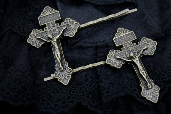 Bronze Crucifix Hair Pins