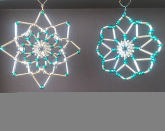 Set of 2 Hand Crafted, Silver and Aqua ornaments or window decor/sun catchers