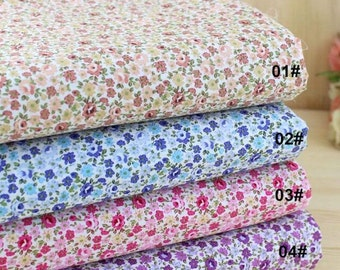 Floral Fabric Flower Fabric,Shabby Chic Style Cotton, Pink Purple Blue Floral Cotton Fabric 1/2 Yard(QT663)