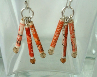 Orange recycled postage stamp earrings unique lightweight paper beaded handmade gypsy jewelry crimson travel lovers gift